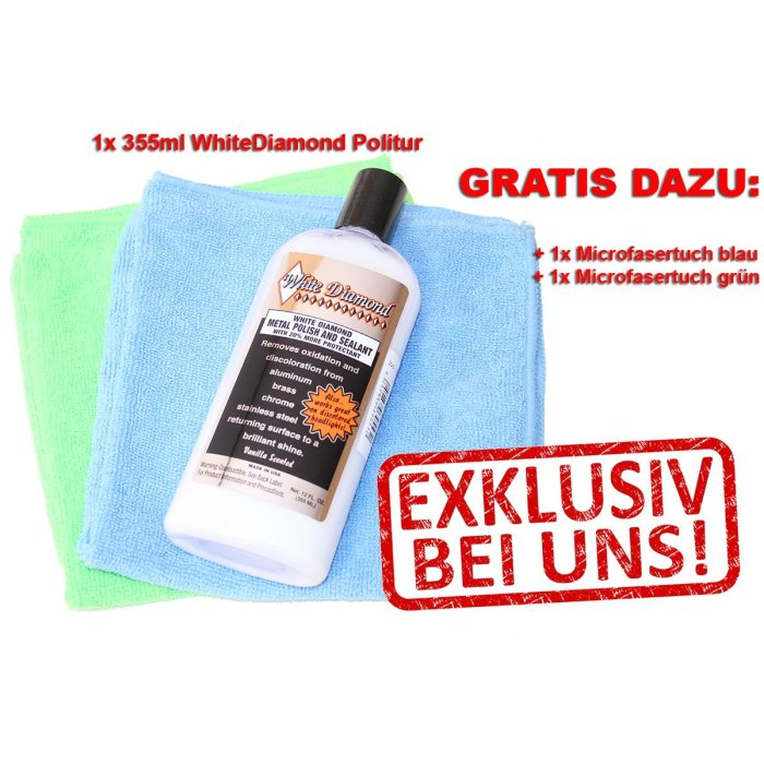 ANGEBOT: White Diamond Metallpolitur und Versiegelung 355ml, WhiteDiamond America Chrom Politur